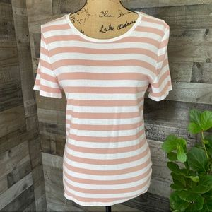 A•new•day dusty rose striped shirt sleeve top